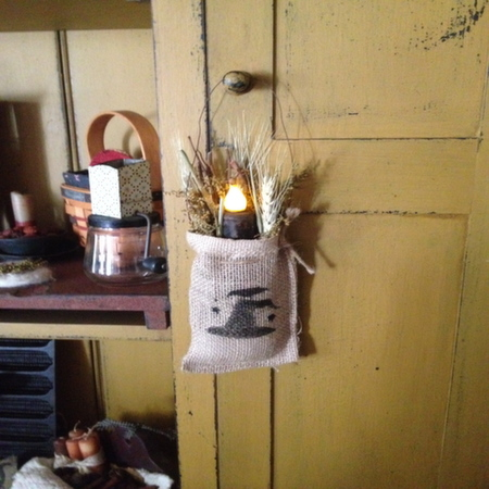 Fall Burlap Bag with Stenciled Witch Hat, Drieds and LED