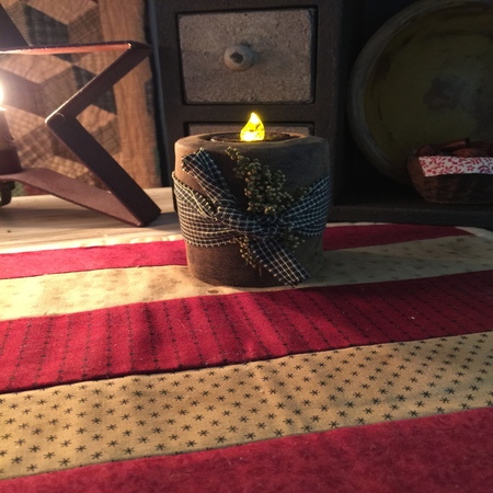 Flicker Candle with Homespun Wrap